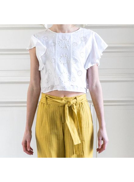 Loa by Lidia Aguilera Crop top embroidery - white