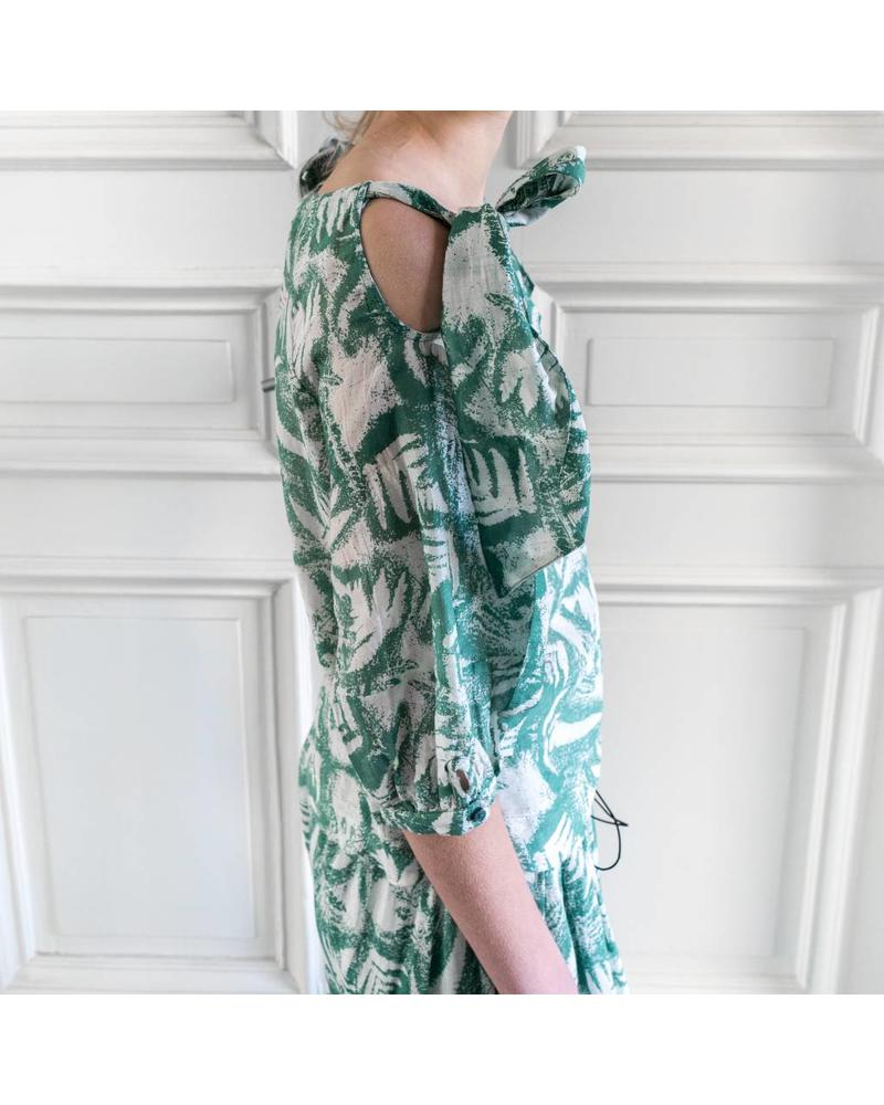 Loa by Lidia Aguilera Blouse open shoulders bow - Green