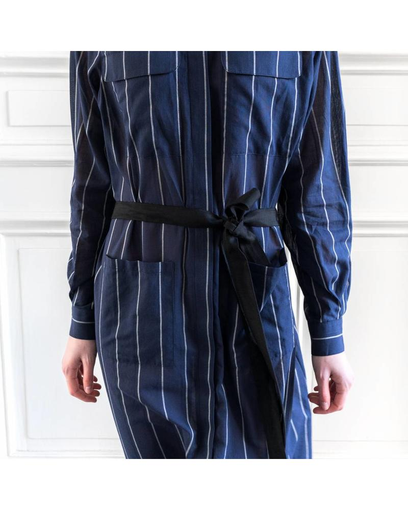 Matin Long Shirt Dress with Tie - Navy Stripe