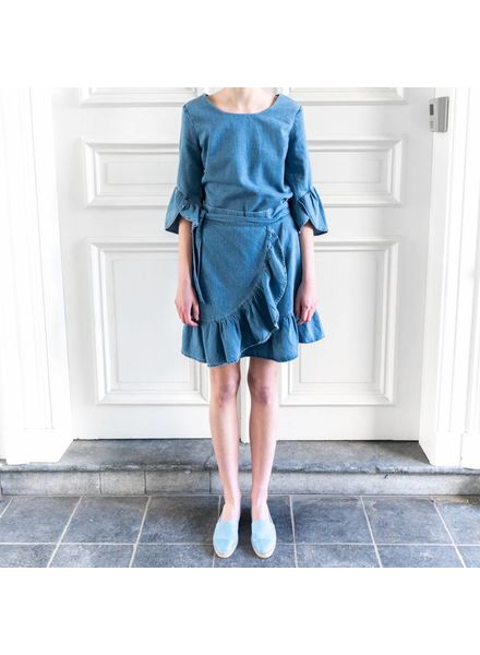 SET Denim dress with draped ruffle
