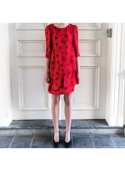 SET Dress with floral print - red