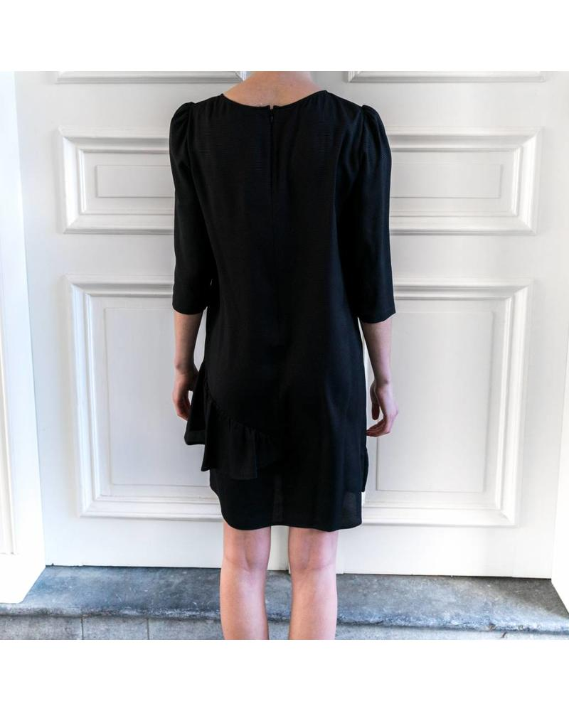 SET Asymmetric draped ruffle dress - Black