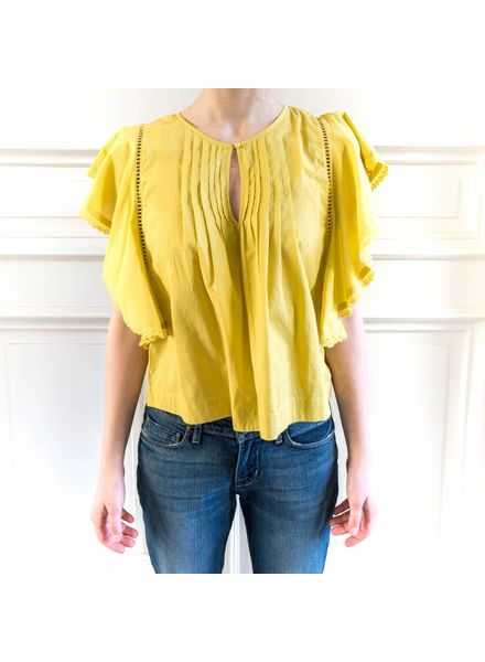 Loa by Lidia Aguilera Crop blouse frill - Ochre
