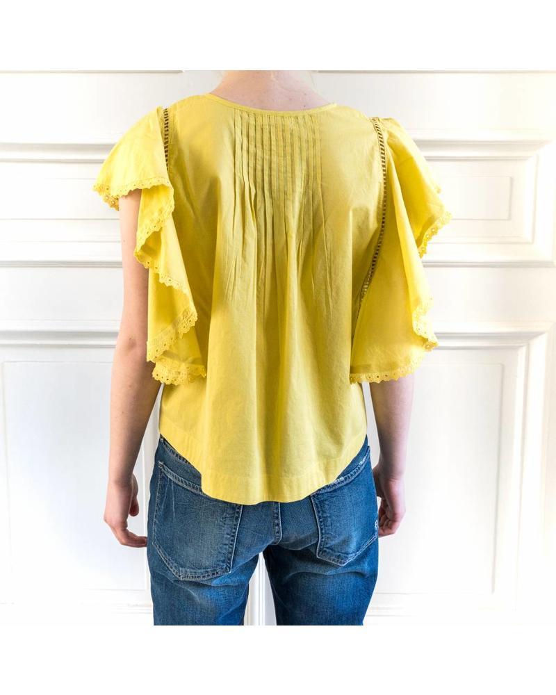 Loa by Lidia Aguilera Crop blouse frill - Ochre