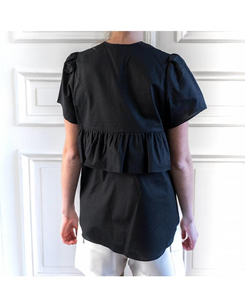 Matin Short Sleeve Ruffle Top - Black