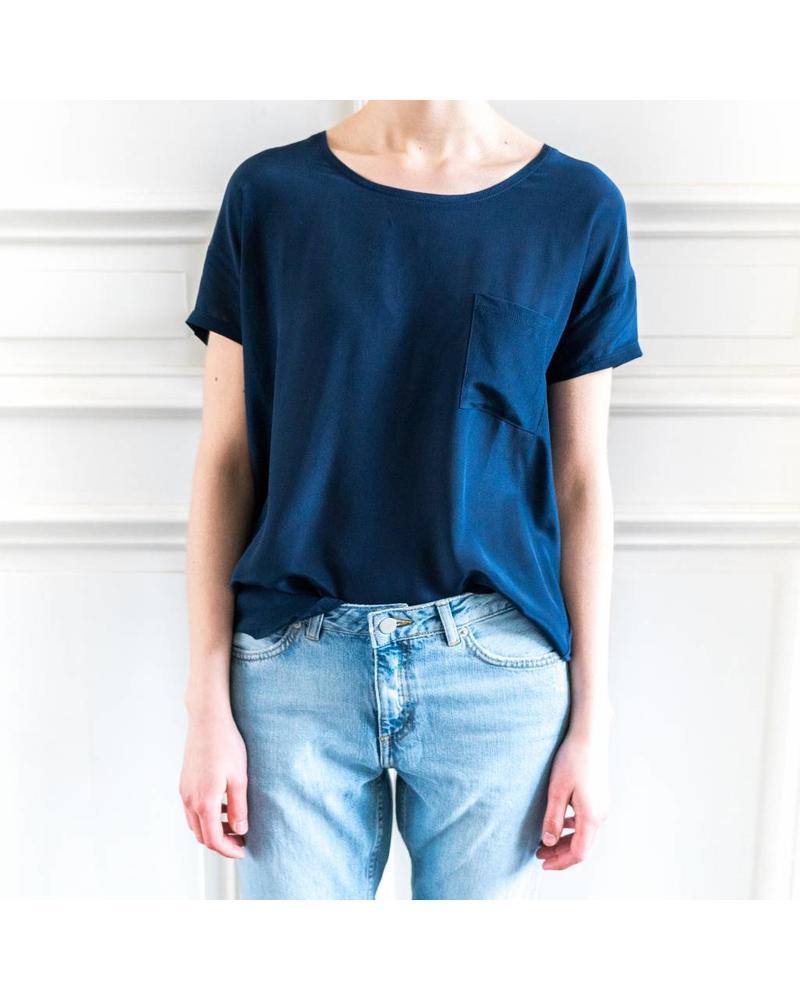 SET Silk T-shirt - Dark Blue