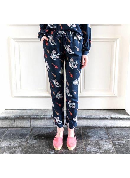 Hope Lino trousers - Ocean Print