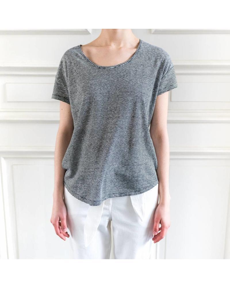 SET Striped linen Tee - White/Black