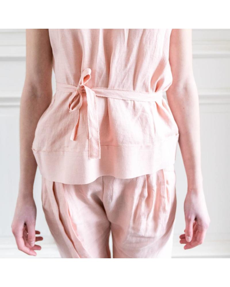 Matin Lace Up Back Vest - Dusty Pink