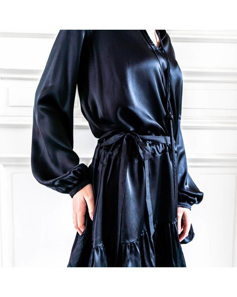 Matin Ede Silk Drawstring Dress - Black