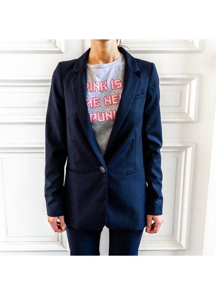 Matin Pinstripe Suit Jacket - Navy