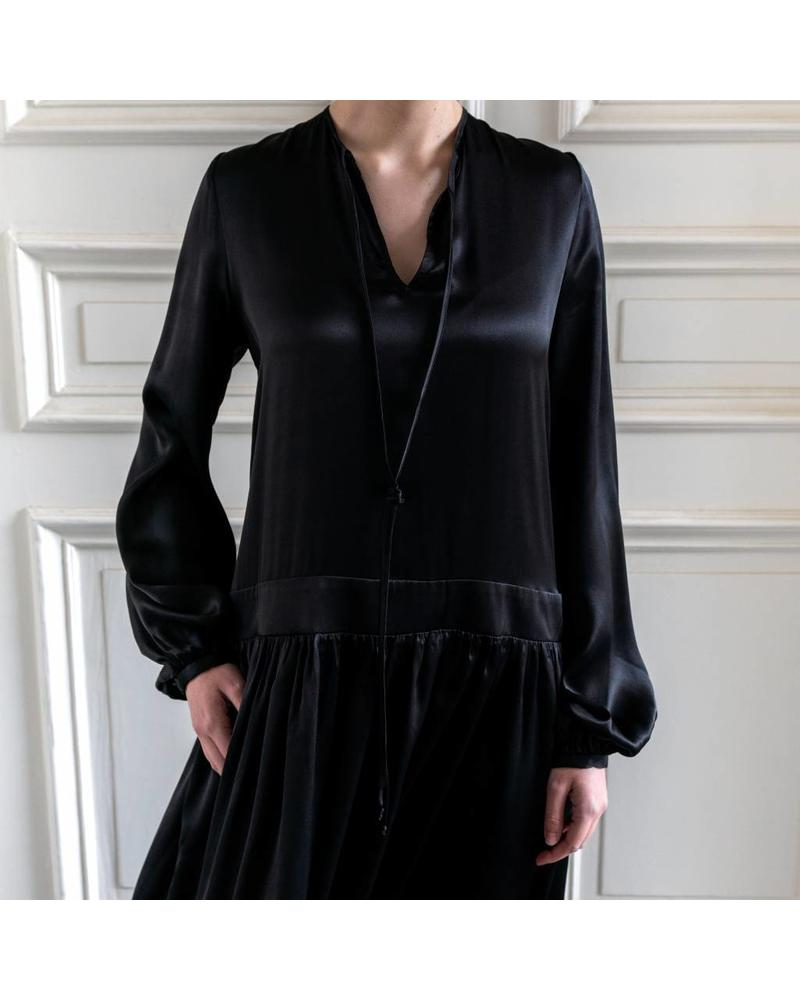 Matin Full Sleeve Tie Dress Long - Black