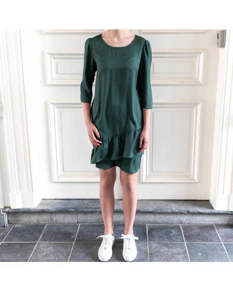 SET Asymmetric draped ruffle dress - Green