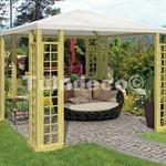 Pavillon en bois  avec toile blanche 3x3m