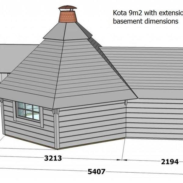 Finse kota grill met extensie KUNDA  9m2 in wanden 44mm