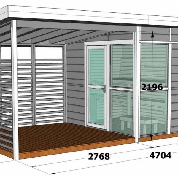 Sauna met overdekt terras EMMA 2-4,7x2,83m