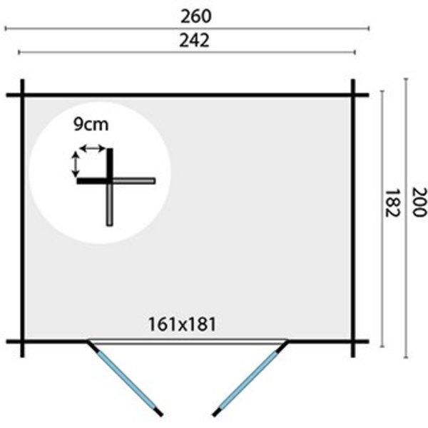 Abri de jardin 28mm ROBERT 2,6x2m