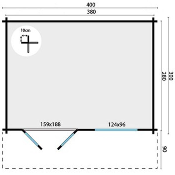 Abri de jardin 58 mm RORIK 4x3m