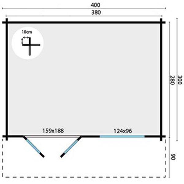 Tuinhuis RORIK 58mm 4x3m