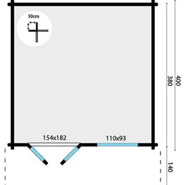 Tuinhuis STIAN 58mm 4x4m