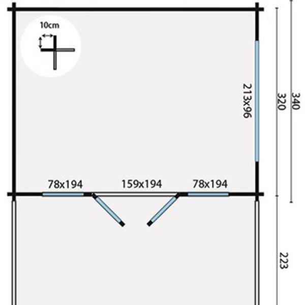 Abri de jardin 58 mm BRISTOL 4,4x3,4m