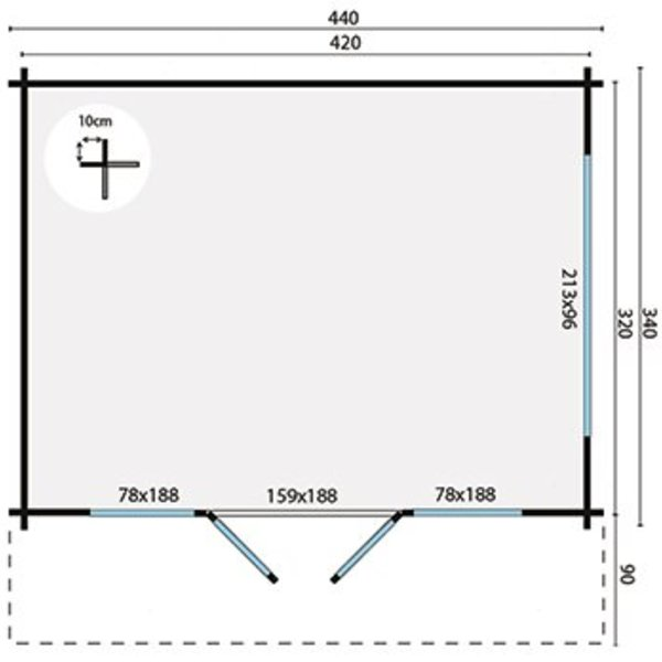 Tuinhuis 58mm BLACKPOOL 4,4x3,4m