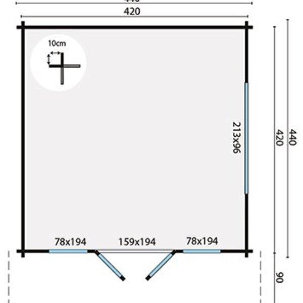 Tuinhuis 58mm DERBY 4,4x4,4m