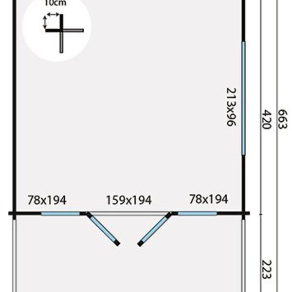 Abri de jardin 58 mm IPSWICH 4,4x4,4m