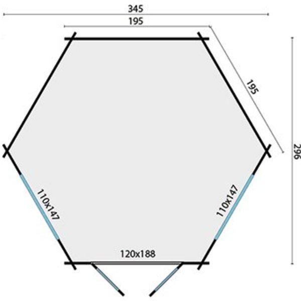 Tuinhuis  34mm NORA 3,45x2,9m