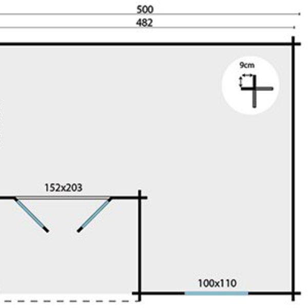 Abri de jardin  en madriers  34mm JOHAN 5x4,1m