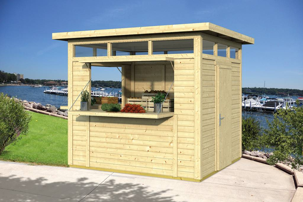 kiosque de vente moderne constructions en bois. Black Bedroom Furniture Sets. Home Design Ideas
