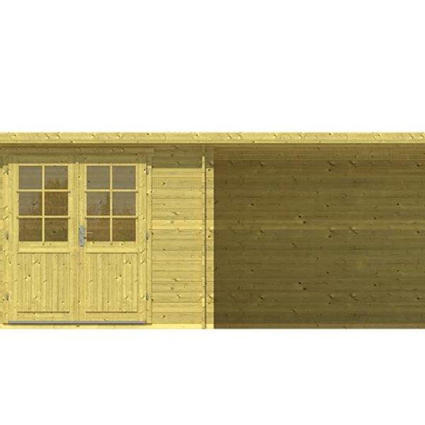 Abri de jardin en madriers  impregné 28mm chappo 5,98x3m