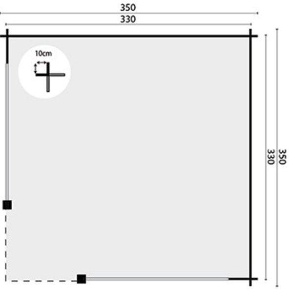 Abri de jardin en madriers  impregné 28mm MITCH 3,5x3,5m