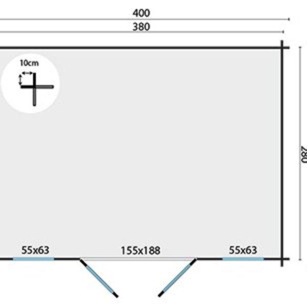Abri de jardin 28mm JUHA 4x3m