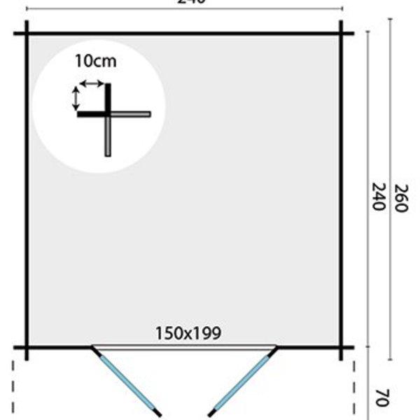 Abri de jardin 28mm GITTE 2,6x2,6m