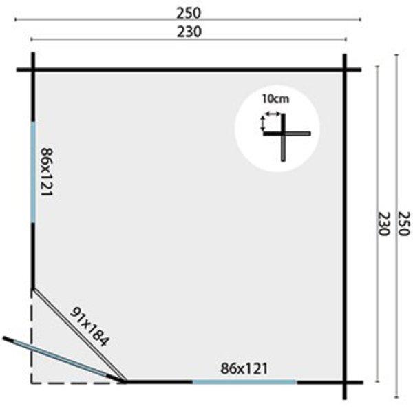 Abri de jardin en madriers  28mm JOS 2,5x2,5m