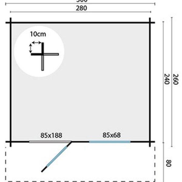 Abri de jardin 28mm BJORN 3x2,6m