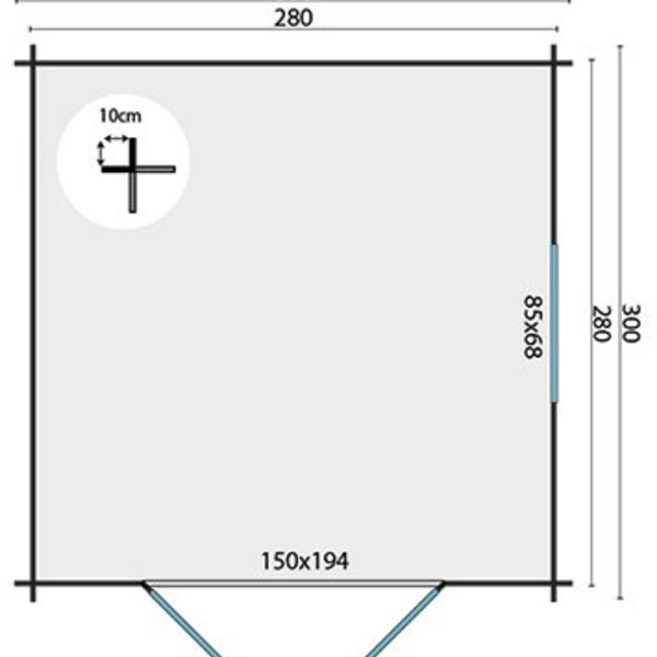 Abri de jardin en madriers  28mm HALVAR 3x3m