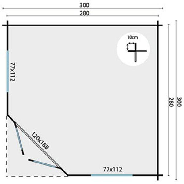 Abri de jardin en madriers  28mm INGRID 3x3m