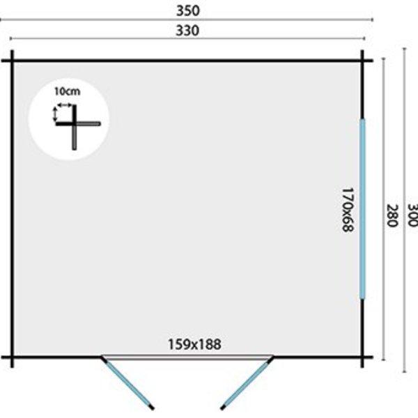 Abri de jardin 28mm SKOV 3,5x3m
