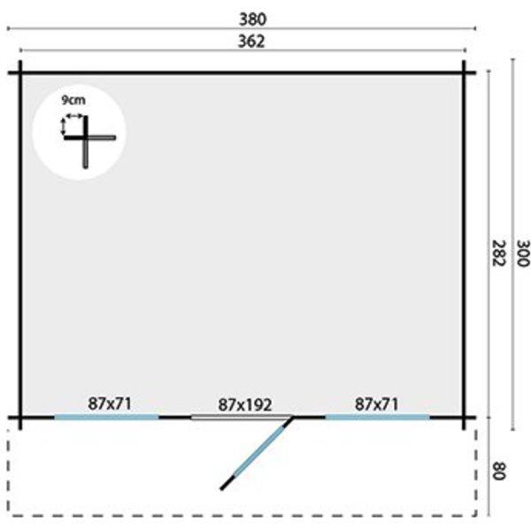 Abri de jardin 28mm MIKA 3,8x3m