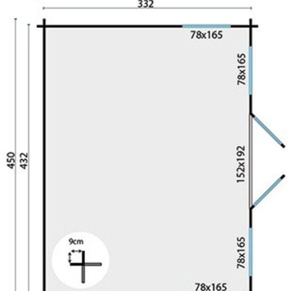 Abri de jardin en madriers  28mm ARNE 4,5x3,5m