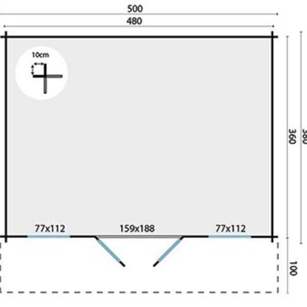Abri de jardin 28mm VIGGO 5x3,8m