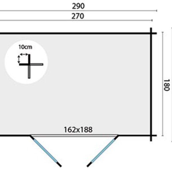Abri de jardin en madriers  28mm KRIS 2,9x2m