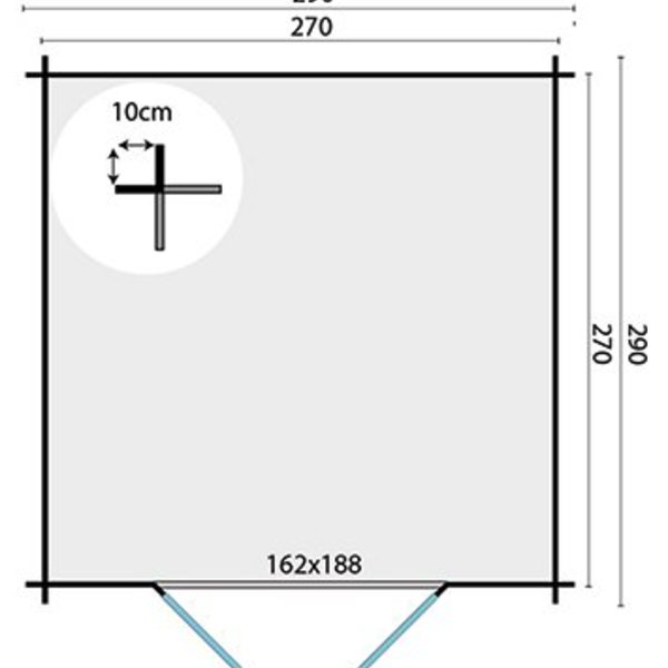 Abri de jardin en madriers  28mm JORGEN 2,9x2,9m