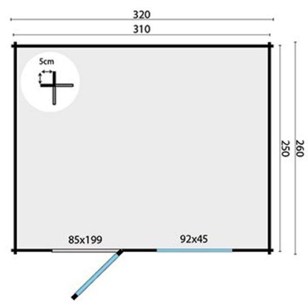 Abri de jardin en madriers  28mm ULTRAMODERN 3,2x2,6m