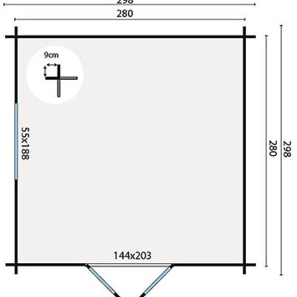 Abri de jardin en madriers  28mm BODINE 2,98x2,98m