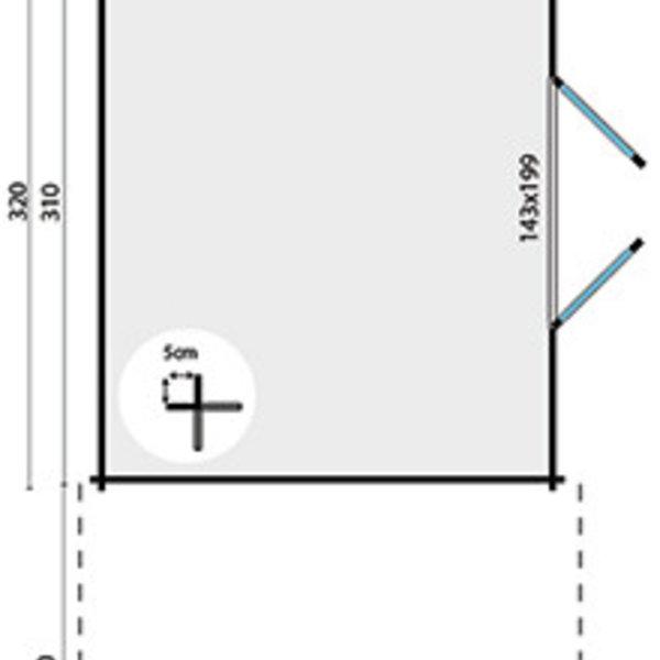 Abri de jardin en madriers  28mm EXTRAMODERN 2,6x3,2m