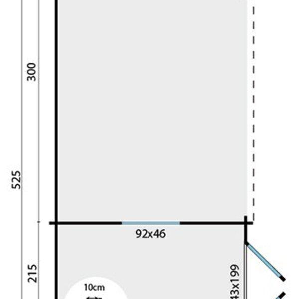 Abri de jardin en madriers  28mm ERICKSON 5,25x3,25m