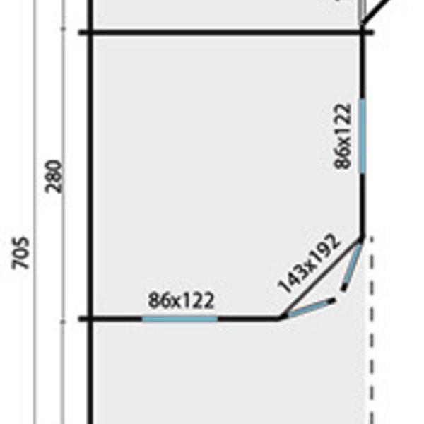 Abri de jardin en madriers 45mm OLSON 7,05x3m